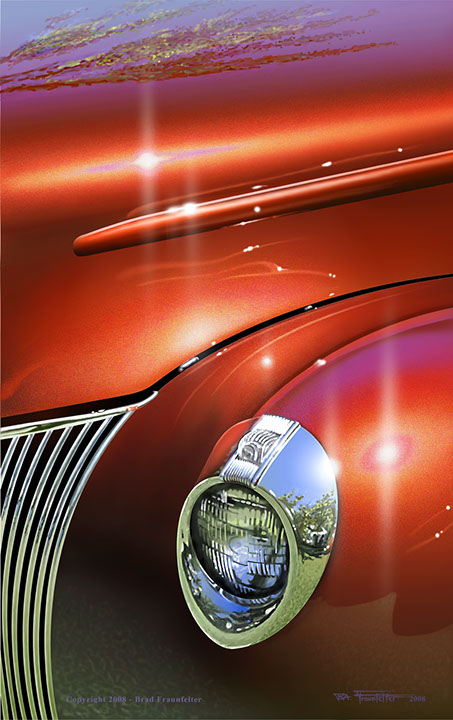 Classic car illustration closeup by Brad Fraunfelter