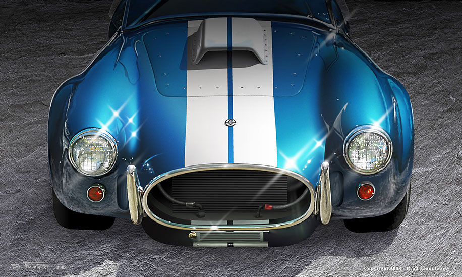 Brad Fraunfelter's exquisite illustration of a blue Cobra classic sports car