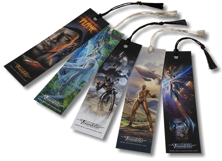 A full set of 5 different bookmarks with Brad Fraunfelter's beautiful artwork for sale.