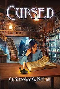 "Book cover illustrated by Brad Fraunfelter for author Christopher G. Nuttall's: ""Cursed""."