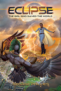 "Book cover illustration by Brad Fraunfelter for ""Eclipse-The Girl Who Saved the World""."