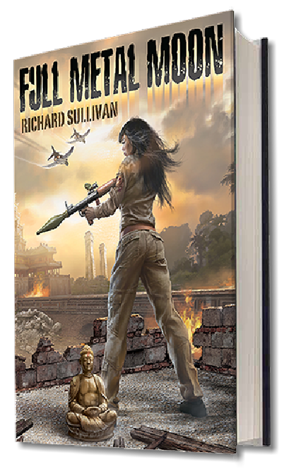 "Book cover illustration by Brad Fraunfelter for author Richard Sullivan: ""Full Metal Moon""."
