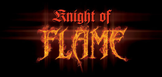 "Logo design illustration for ""Knight of Flame"" book cover"