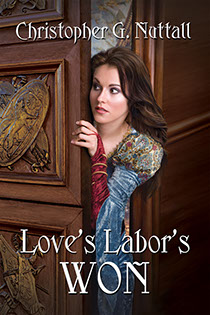 "Book jacket cover illustrated by Brad Fraunfelter for author Christopher G. Nuttall: ""Love's Labor's Won""."