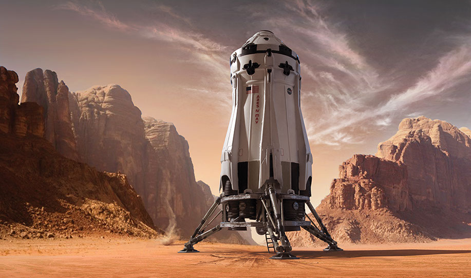 "Illustration of Mars Ascent Vehicle for Fantastic Plastic Model Kit. The MAV is from the movie ""The Martian."""