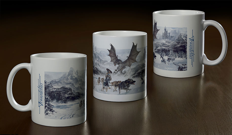 "Illustrated ceramic mug with ""Forbidden Valley"" illustration by Brad Fraunfelter."
