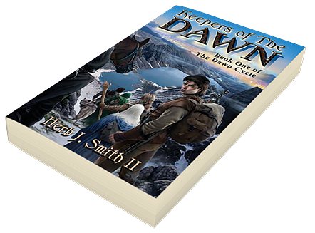 "An example of a book cover created by Brad for ""Keepers of the Dawn"" by Herb J. Smith II."
