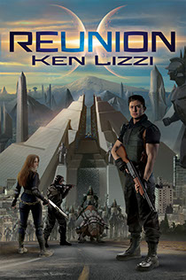 "Illustration of the book cover for Ken Lizzi's ""Reunion"" novel"