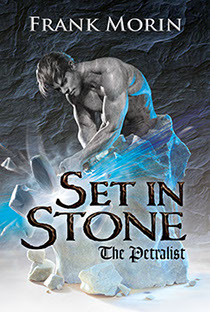 "Book jacket illustration by Brad Fraunfelter for author Frank Morin: ""Set in Stone""."