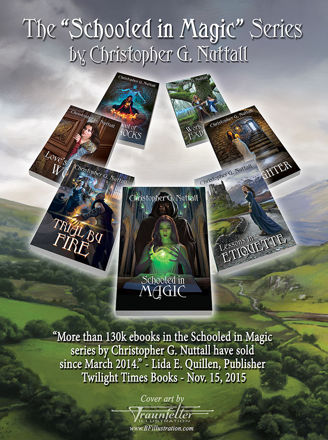 "Poster: The ""Schooled in Magic"" series of books by author Christopher Nuttall. Book covers designed by Brad Fraunfelter."