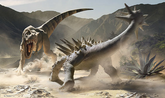 Natural history illustration of the battle between two giant dinosaurs from the Cretaceous Period: a tyrannosaurus rex and an ankylosaurus.