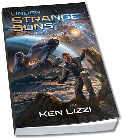 "Book cover illustration by Brad Franfelter for ""Under Strange Suns"" by author Ken Lizzi."