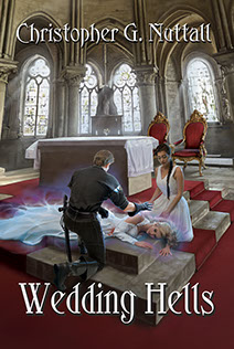 "Book cover illustrated by Brad Fraunfelter for author Christopher G. Nuttall: ""Wedding Hells""."